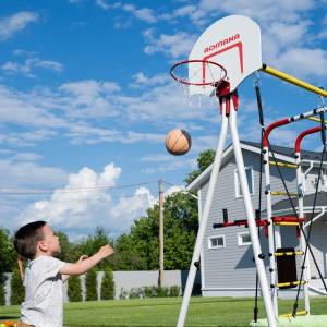 Детский спортивный комплекс для дачи ROMANA Fitness (с пластиковыми качелями)