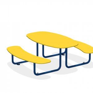Стол со скамьями (на анкерных закладных)